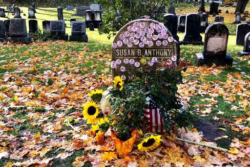 US Midterms: Susan B. Anthony grave decorated with 'I Voted' stickers