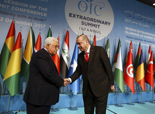 The Latest: Turkey suggests opening embassy to Palestine