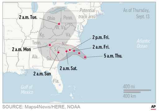 Florence plows inland, leaving five dead, states flooded