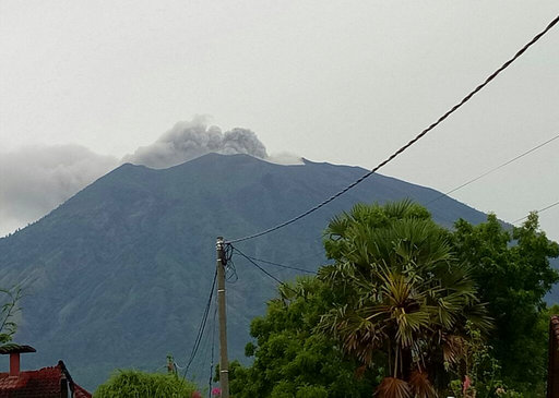 Bali volcano spews ash and steam, alert not raised
