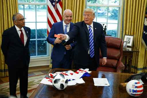 U.S. President Donald Trump meets with FIFA President Gianni Infantino