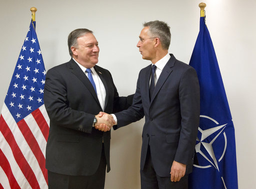 Pompeo dives in at NATO on 1st trip as top US diplomat