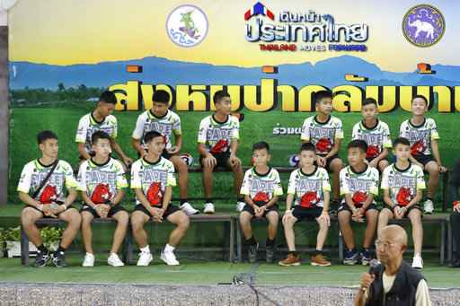 Thai youth soccer players rescued from cave meet the media