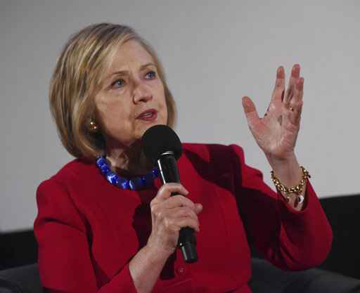 Former Secretary of State Hillary Clinton speaks during the Trailblazing Women of Park Ridge event in Park Ridge, Ill., Friday, Oct. 11, 2019. (Joe Lewnard/Daily Herald via AP)