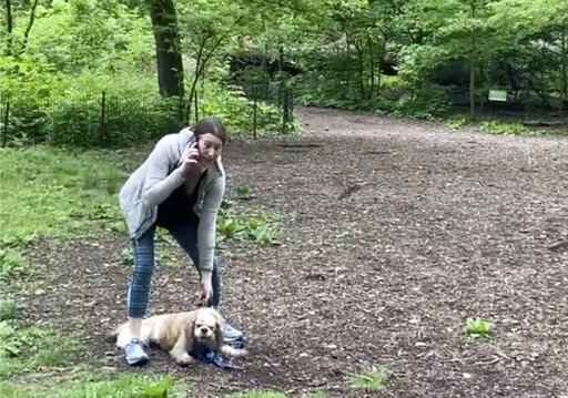 This image made from Monday, May 25, 2020, video provided by Christian Cooper shows Amy Cooper with her dog calling police at Central Park in New York. A video of a verbal dispute between Amy Cooper, walking her dog off a leash and Christian Cooper, a black man bird watching in Central Park, is sparking accusations of racism. (Christian Cooper via AP)
