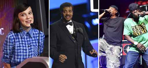 This combination photo shows Millie Bobby Brown, from left, Neil deGrasse Tyson and Public Enemy's Chuck D and Flavor Flav. This week's new entertainment releases include