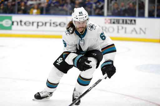 FILE - In this Tuesday, Jan. 7, 2020, file photo, San Jose Sharks' Erik Karlsson, of Sweden, skates during the second period of an NHL hockey game against the St. Louis Blues in St. Louis. For the teams that missed the 2020 playoffs, they've spent the past 10 months waiting for the compressed 56-game 2021 season. (AP Photo/Jeff Roberson, File)