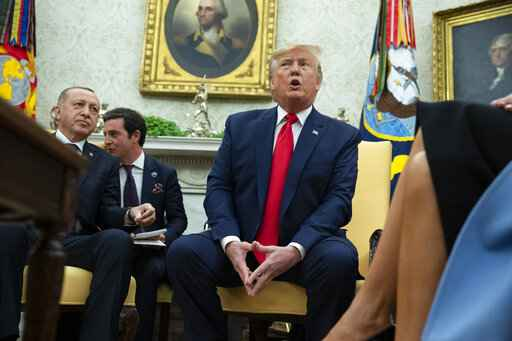 President Donald Trump speaks during a meeting with Turkish President Recep Tayyip Erdogan in the Oval Office of the White House, Wednesday, Nov. 13, 2019, in Washington. (AP Photo/ Evan Vucci)