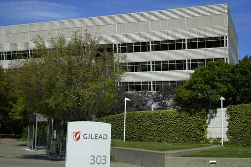 FILE - This is an April 30, 2020, file photo showing Gilead Sciences headquarters in Foster City, Calif. The maker of a drug shown to shorten recovery time for severely ill COVID-19 patients says it will charge $2,340 for a typical treatment course for people covered by government health programs in the United States and other developed countries. Gilead Sciences announced the price Monday, June 29 for remdesivir, and said the price would be $3,120 for patients with private insurance. It will sell for far less in poorer countries where generic drugmakers are being allowed to make it. (AP Photo/Ben Margot, File)
