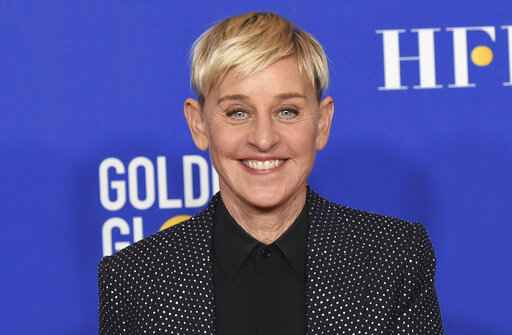 FILE - Ellen DeGeneres poses in the press room at the 77th annual Golden Globe Awards on Jan. 5, 2020, in Beverly Hills, Calif. DeGeneres says she'll be ready to talk when her daytime show returns this month after a staff shake-up prompted by allegations of a toxic workplace.