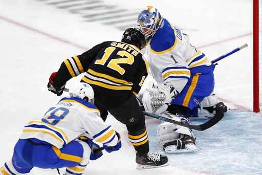 Boston Bruins' Craig Smith (12) scores on Buffalo Sabres' Ukko-Pekka Luukkonen (1) during the first period of an NHL hockey game, Saturday, May 1, 2021, in Boston. (AP Photo/Michael Dwyer)