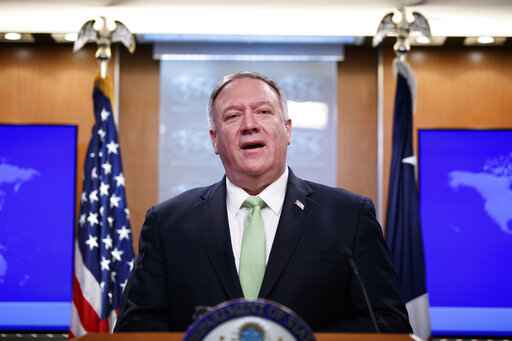 Secretary of State Mike Pompeo speaks during a media availability at the State Department, Wednesday, Dec. 11, 2019, in Washington. (AP Photo/Alex Brandon)