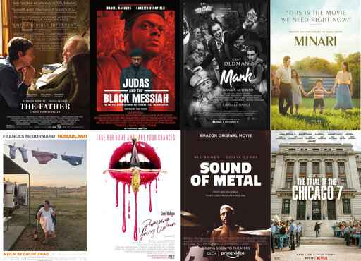 This combination photo shows poster art for best picture Oscar nominees, top row from left,