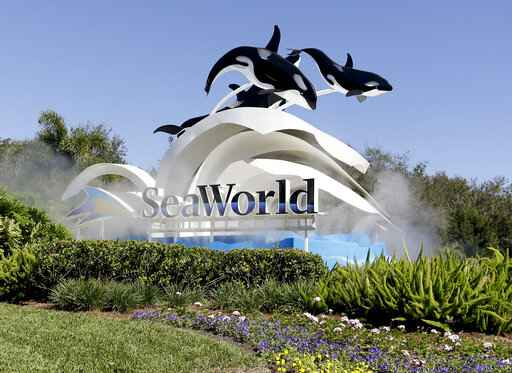 FILE - This Jan. 31, 2017, file photo, shows the entrance to SeaWorld, in Orlando, Fla. SeaWorld Entertainment is furloughing 90% of its workers because the novel coronavirus had forced the company to close its 12 theme parks. The employees will be paid through the beginning of next week. After next week, the workers will be off without pay for an uncertain time, the Orlando-based company said Friday, March 27, 2020, in a Securities and Exchange Commission filing. (AP Photo/John Raoux, File)