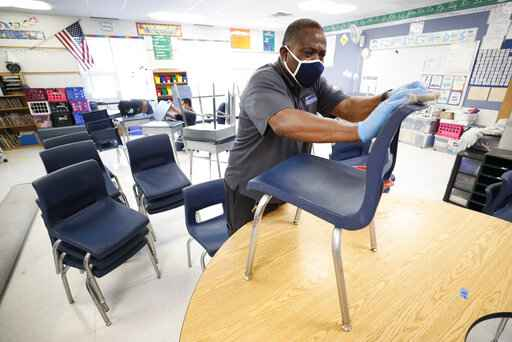 Des Moines Public Schools custodian Tracy Harris cleans chairs in a classroom at Brubaker Elementary School, Wednesday, July 8, 2020, in Des Moines, Iowa. Getting children back to school safely could mean keeping high-risk spots like bars and gyms closed. That's the latest thinking from some public health experts. (AP Photo/Charlie Neibergall)