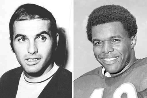 FILE - From left are 1970 file photos showing Brian Piccolo and Gale Sayers. Hall of Famer Gale Sayers, who made his mark as one of the NFL's best all-purpose running backs and was later celebrated for his enduring friendship with Chicago Bears teammate Brian Piccolo, has died. He was 77. Nicknamed