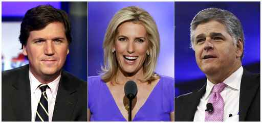 This combination photo shows, from left, Tucker Carlson, host of