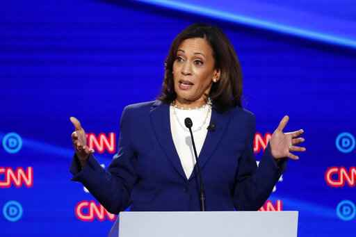 FILE - In this Oct. 15, 2019, file photo, then-Democratic presidential candidate Sen. Kamala Harris, D-Calif., speaks during a Democratic presidential primary debate in Westerville, Ohio. Democratic presidential candidate former Vice President Joe Biden has chosen Harris as his running mate. (AP Photo/John Minchillo, File)