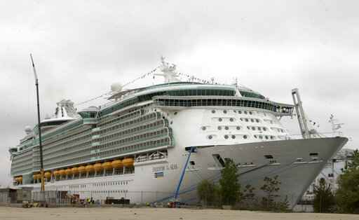 FILE - This May 11, 2006 file photo shows the Freedom of the Seas cruise ship docked in Bayonne, N.J. The parents of Chloe Wiegand, an Indiana girl who fell to her death in July from the open window of the cruise ship docked in Puerto Rico contend in a court filing that it was