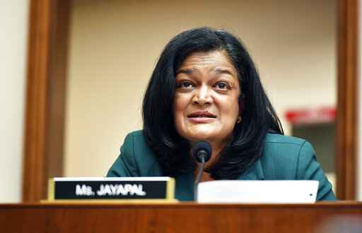 Rep. Pramila Jayapal, D-Wash., speaks during a House Judiciary subcommittee on antitrust on Capitol Hill in a Wednesday, July 29, 2020,file photo, in Washington. Two of Facebook's toughest critics on Capitol Hill, Jayapal and  David Cicilline of Rhode Island, have urged the social media platform to get serious about misinformation, voter suppression and hate speech ahead of the 2020 election. In a letter sent Sunday, Sept. 27, U.S. Reps. Pramila Jayapal of Washington and David Cicilline of Rhode Island demanded that Facebook immediately remove pages or groups spreading misleading information about voting and posts encouraging people to bring guns to polling places.(Mandel Ngan/Pool via AP, File)