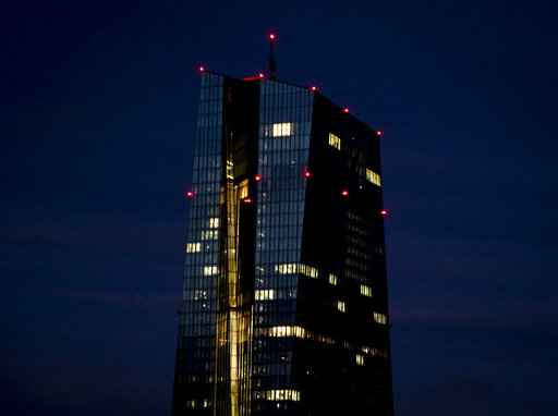 Office lights of the European Central Bank in Frankfurt, Germany, Wednesday, Jan. 13, 2021. (AP Photo/Michael Probst)