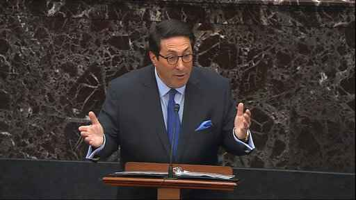 In this image from video, personal attorney to President Donald Trump, Jay Sekulow, speaks during the impeachment trial against President Donald Trump in the Senate at the U.S. Capitol in Washington, Tuesday, Jan. 28, 2020. (Senate Television via AP)