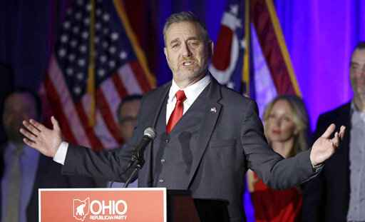 FILE - In a Nov. 6, 2018 file photo, Dave Yost speaks at the Ohio Republican Party event, in Columbus, Ohio.  A federal appeals court has denied an effort by state attorneys general to stop a bellwether opioids trial involving two Ohio counties from getting underway later this month in Cleveland. The Sixth Circuit U.S. Court of Appeals in Cincinnati ruled Thursday, Oct. 10, 2019 that Ohio didn�t object when lawsuits filed by Summit and Cuyahoga counties were initially included in what has become a sprawling case involving around 2,600 local governments and other entities. Yost argued in August against the certification of the local government lawsuits as multi-district litigation. (AP Photo/Tony Dejak, File)