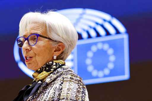 FILE - In this Monday, FEB. 8, 2021 file photo, European Central Bank President Christine Lagarde addresses European lawmakers during a plenary session at the European Parliament in Brussels. The European Central Bank is expected to signal Thursday, April 22, 2021 that even if inflation rises later this year, it won't consider cutting back support for Europe's economy, which is lagging the U.S. and China amid a drawn-out struggle with the COVID-19 pandemic. (AP Photo/Olivier Matthys, Pool, File)