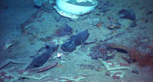 This 2004 image provided by the University of Rhode Island's Institute for Exploration and Center for Archaeological Oceanography and the National Oceanic and Atmospheric Administration's Office of Ocean Exploration shows the shoes of one of the possible victims of the Titanic disaster. A company's plan to retrieve the Titanic's radio has sparked a debate over whether the famous shipwreck still holds human remains. (Institute for Exploration and Center for Archaeological Oceanography/University of Rhode Island/NOAA Office of Ocean Exploration via AP)