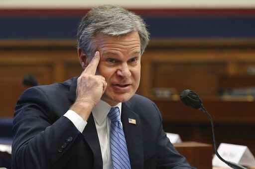Federal Bureau of Investigation Director Christopher Wray testifies before a House Committee on Homeland Security hearing on 'worldwide threats to the homeland', Thursday, Sept. 17, 2020 on Capitol Hill Washington. (Chip Somodevilla/Pool via AP)