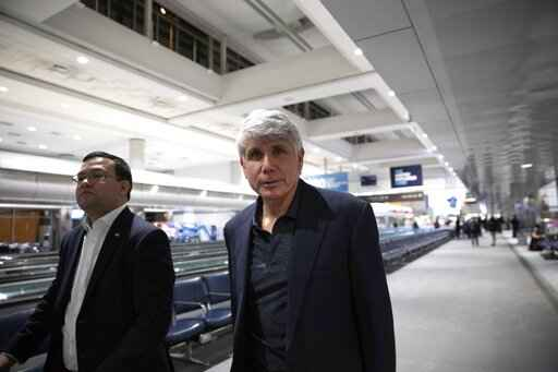 Former Gov. Rod Blagojevich arrives to Denver International Airport on Tuesday, Feb. 18, 2020 in Denver. Blagojevich walked out of prison after President Donald Trump cut short the 14-year prison sentence handed to the former Illinois governor for political corruption. (Erin Hooley/Chicago Tribune via AP)