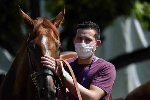 In this Friday, May 22, 2020 photo, a groom wearing a face mask leads a horse to the track at Santa Anita Park in Arcadia, Calif. Horse racing returned to the track after being idled for one and a half months because of public health officials' concerns about the coronavirus pandemic. (AP Photo/Ashley Landis)