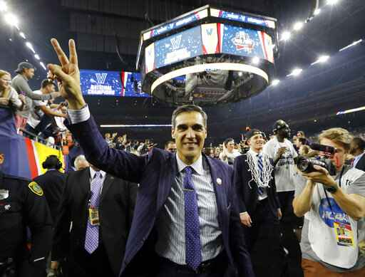 FILE - In this April 4, 2016, file photo, Villanova head coach Jay Wright celebrates after defeating North Carolina for the national championship of the NCAA Final Four college tournament college basketball tournament in Houston. Wright is starting his 19th season at Villanova, where he is already the winningest coach in program history.(AP Photo/David J. Phillip, File)