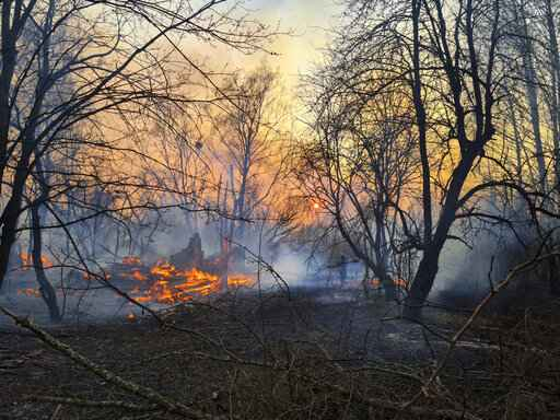 A view of a forest fire burning near the village of Volodymyrivka in the exclusion zone around the Chernobyl nuclear power plant, Ukraine, Sunday, April 5, 2020. (AP Photo/Yaroslav Yemelianenko)