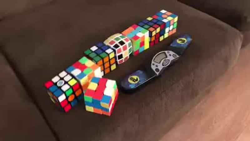 VIDEO: Irondequoit boy solves 8 Rubik's Cubes in 12 minutes while blindfolded