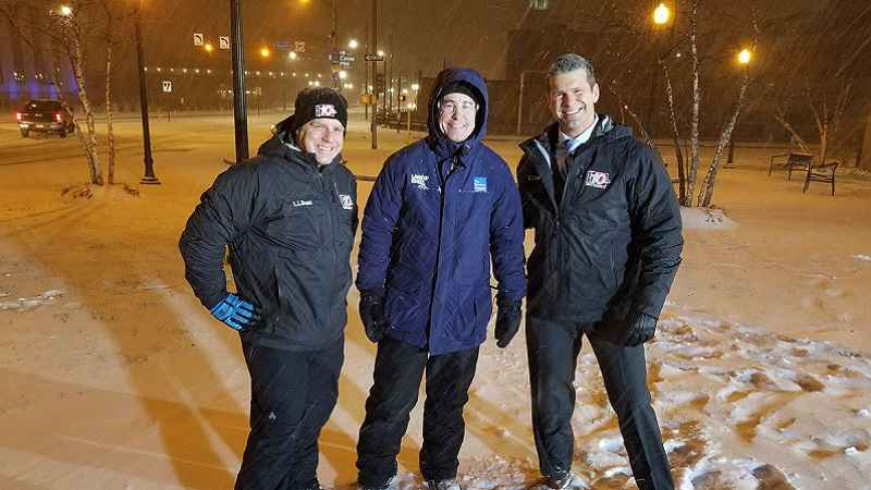 The Weather Channel's Mike Seidel (center) with News10NBC's Robert Speta and Jeremy Kappell during the January 12/13 snowstorm in Rochester.