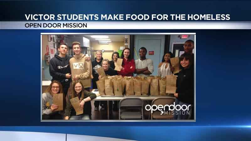 Victor students serve up food at Open Door Mission