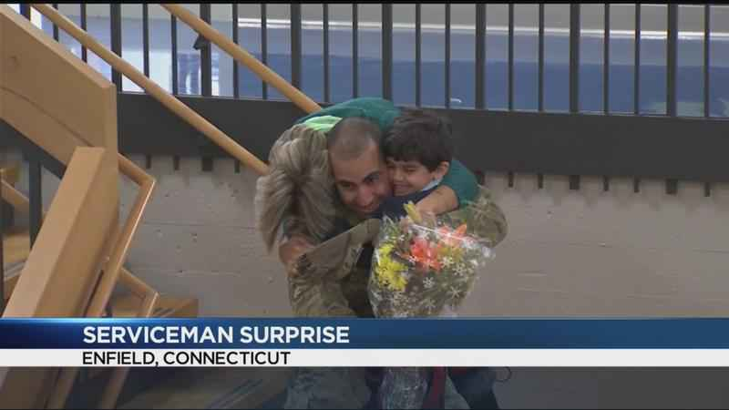 Airman surprised family at Connecticut school