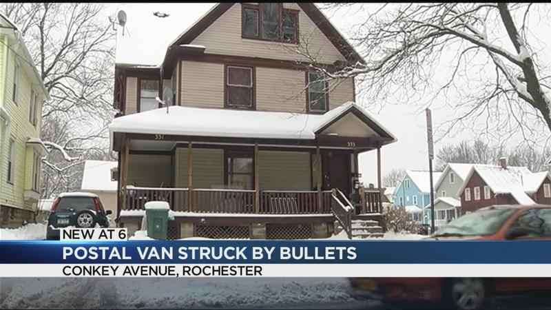 Postal van struck by bullets on Conkey Avenue