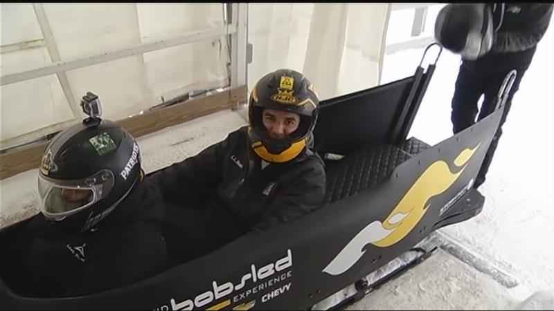 Rich Donnelly rides an Olympic bobsled