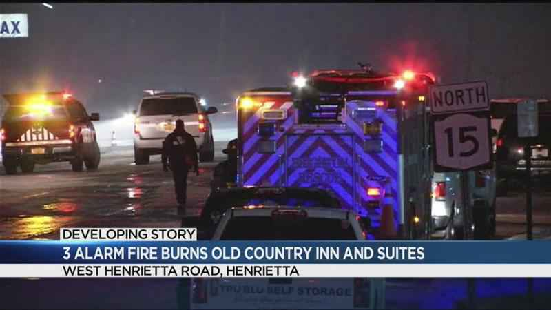 Three-alarm fire burns Henrietta's old Country Inn and Suites