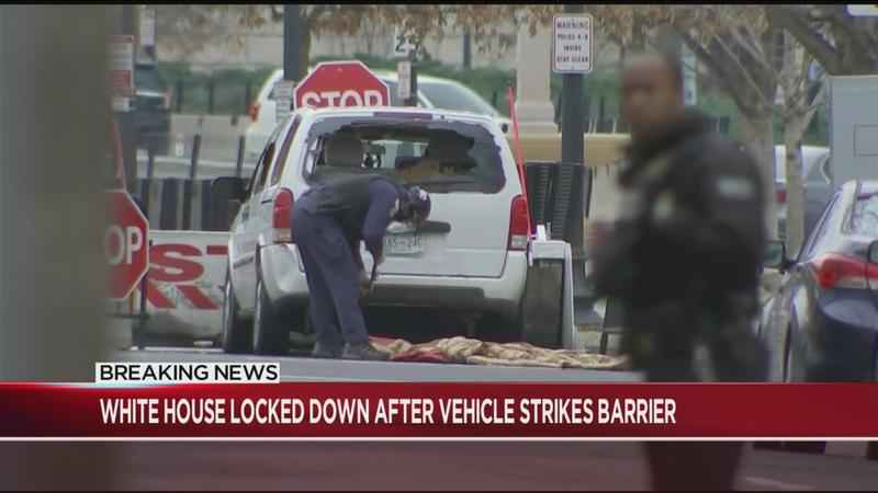 Vehicle strikes White House security barrier