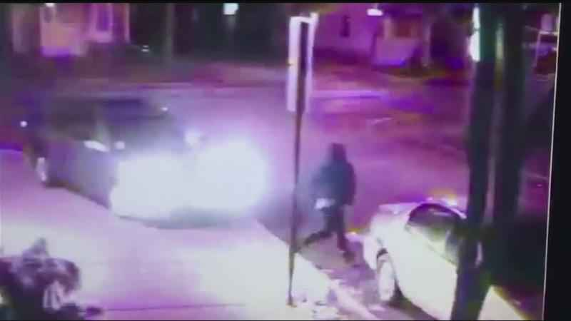 Video captures car trying to run down people, crashing into parked car