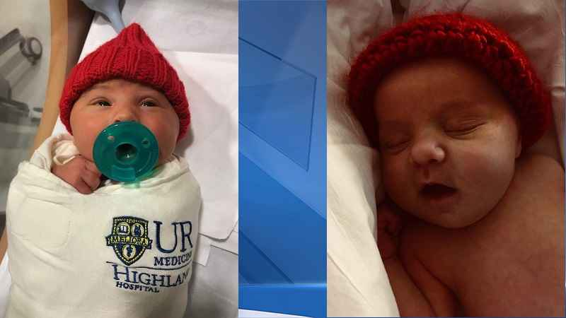 Red caps being given out to newborns for heart health
