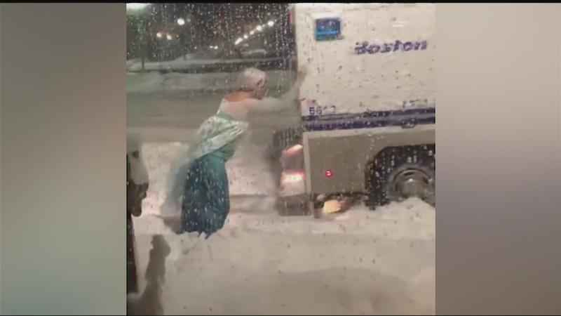 'Elsa' pushes Boston police vehicle out of snow bank