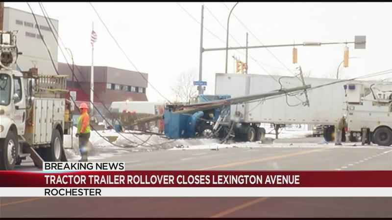 Two hurt in tractor trailer rollover crash