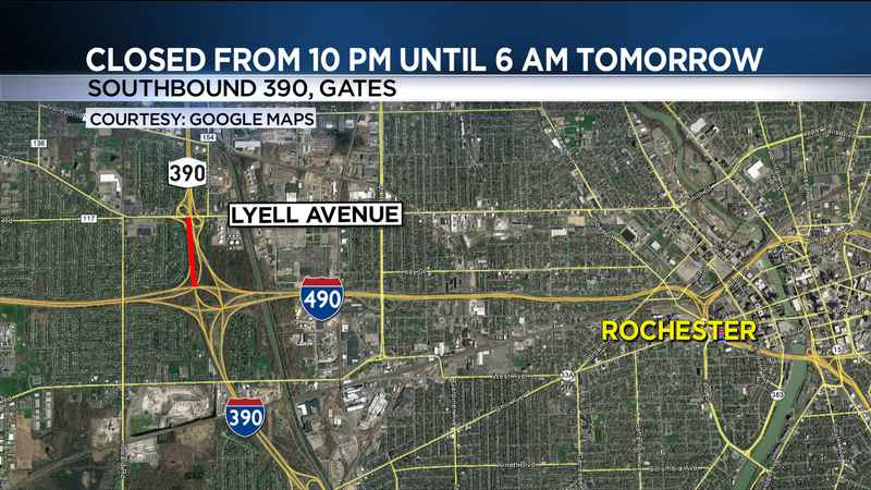 A portion of 390 is closed in Gates overnight
