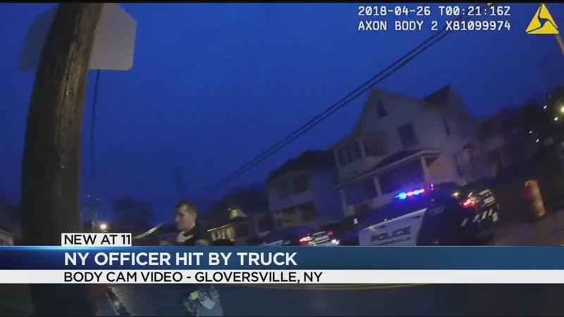 Body camera video released of officer hit near Albany