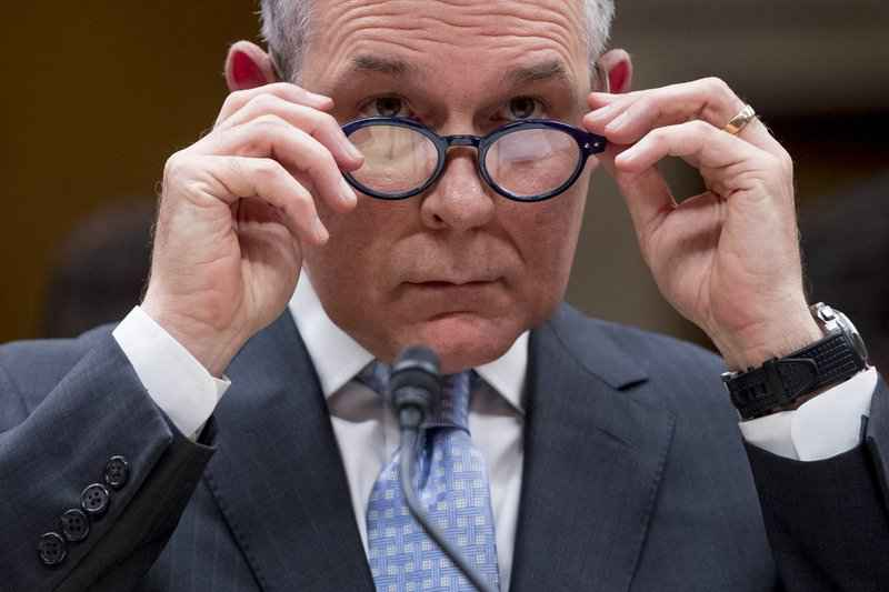 In this May 16, 2018 file photo, Environmental Protection Agency Administrator Scott Pruitt appears before a Senate Appropriations subcommittee on budget on Capitol Hill in Washington.