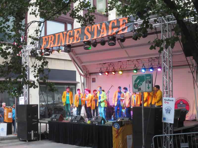 The Yellow Jackets were singing in the rain at Fringe Fest